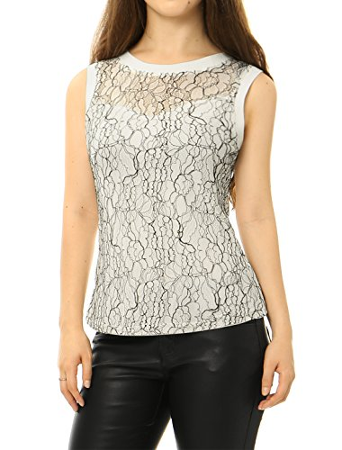 Allegra K Women Sleeveless Floral Lace Top White L