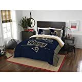 3 Piece NFL Los Angeles Rams Comforter Full Queen Set, Sports Patterned Bedding, Team Logo, Fan Merchandise, Team Spirit, Football Themed, National Football League, Blue, Gold, Unisex