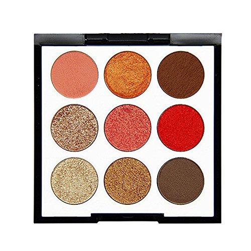 9 Color Pearl Glitter Eyeshadow Powder,Haluoo Waterproof Long Lasting Shimmer Eye Shadow Pallette High Pigmented Smoky Cosmetic Eyeshadows Hypoallergenic (C) -