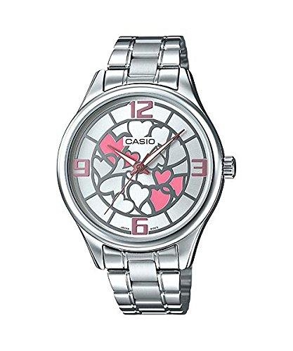 CASIO LTP-E128D-7A - Reloj analógico de mujer. Acero Inoxidable. Esfera rosa y plata: Amazon.es: Relojes
