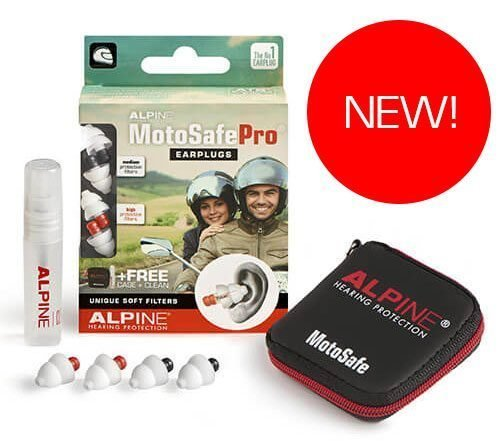 Alpine Hearing Protection Earplugs Motosafe, PRO. NEW for 2018
