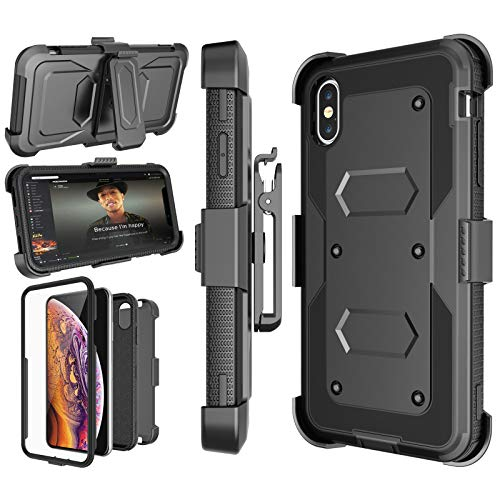 Njjex Case Compatible with iPhone Xs Max, [Nbeck] Heavy Duty Built-in Screen Protector Rugged Locking Swivel Holster Belt Clip Kickstand Hard Shell Cover Case for iPhone Xs Max 6.5