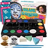 Blue Squid Face Paint Kit for Kids - 52 Pieces, 14 Colors, 2 Glitters, 30 Stencils, 4 Makeup Sponges, Face Paint Party Supplies - Safe Facepainting for Sensitive Skin - Professional Costume Makeup