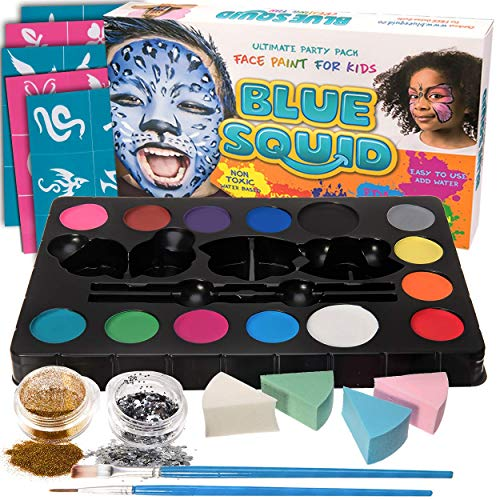 Blue Squid Face Paint Kit for Kids - 52 Pieces, 14 Colors, 2 Glitters, 30 Stencils, 4 Makeup Sponges, Face Paint Party Supplies - Safe Facepainting for Sensitive Skin - Professional Costume Makeup -