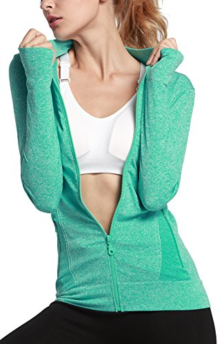 HIYAGO Lightweight Active Performance Full-zip Hoodie Jacket (L, mint green-A)