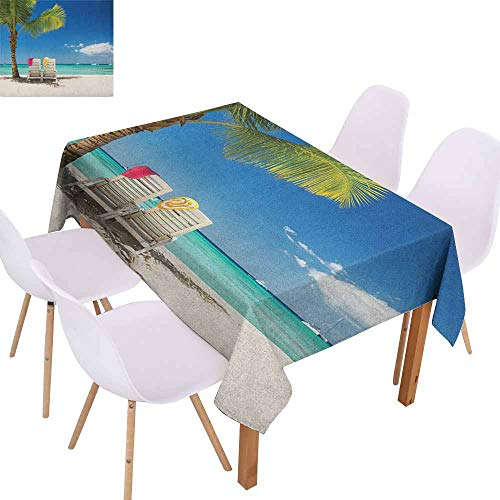 Marilec Easy Care Tablecloth Seaside Relaxing Scene on Remote Beach with Palm Tree Chairs and Boats Panoramic Picture Soft and Smooth Surface W59 xL71 Blue Green