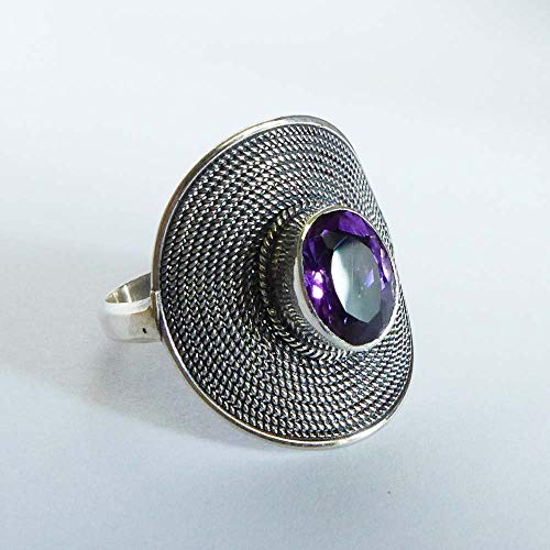 20mm Amethyst Round Twisted Wire Cocktail silver Ring AR17