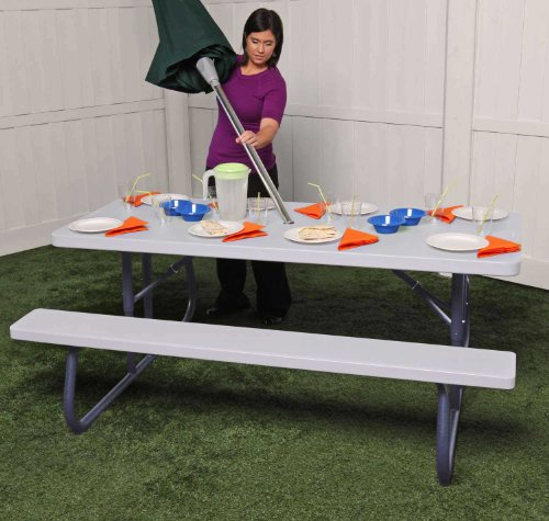 Lifetime 80215 Folding Picnic Table 6 Feet White Granite