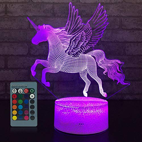 JMLLYCO Unicorn Gifts Unicorn Light Kids Night Light 16 Colors Change with Remote Control Optical Illusion Bedside Lamps As a Gift Ideas for Boys and Girls Birthday Gifts