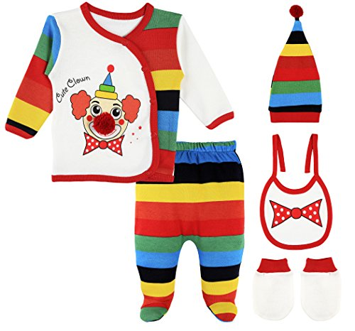 Lilax Baby Girl 5 Piece Fun Unique Soft Cotton Top, Pant, Cap, Mittens and Bib Layette Gift Set 0-3M Clown]()