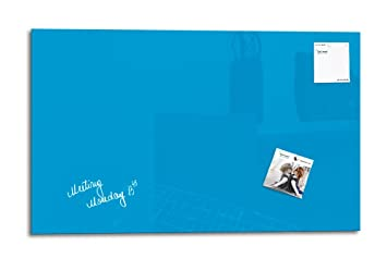 Smart Glass Board ® Pizarra de cristal magnética / Tablero de notas magnético en vidrio + 2 Imanes SuperDym + 1 Marcador, 78 x 48 cm, Azul
