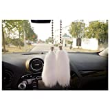 LuckySHD Car Charm Interior Decoration Rearview Mirror Plush Hanging Pendant - White