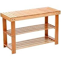 Shoe Rack Bench 2 Tier Entryway Seat Storage Shelf Foot Stool Hallway Bedroom Bamboo