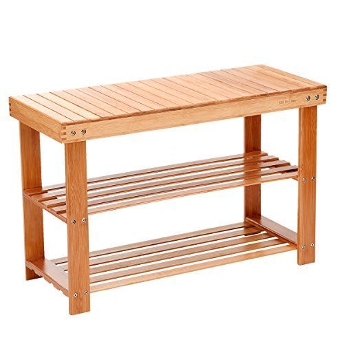 Bedroom Outdoor Bench (Shoe Rack Bench 2 Tier Entryway Seat Storage Shelf Foot Stool Hallway Bedroom Bamboo)
