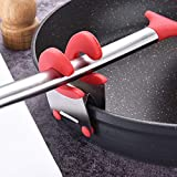 Stainless Steel Pot Pan Holder SUJING Spatula Clip Spoon Rest Pots Clip Kitchen Utensil (Red)