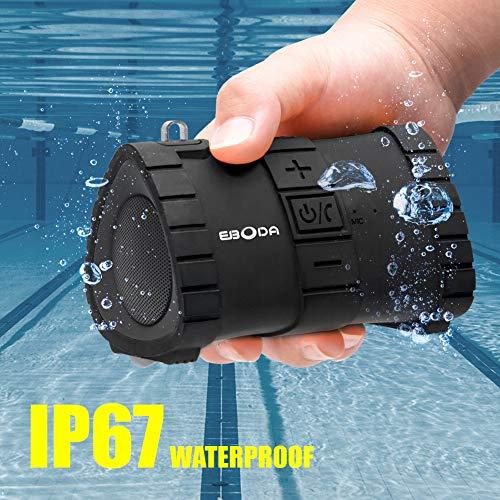 EBODA Portable Bluetooth Speaker, IP67 Waterproof Portable Wireless Speaker, 6W and Stereo Sound, Built-in Mic, Hands-Free Speakerphone, 2000mAh Battery, 24H Playtime for Pool, Beach, Hiking-Black