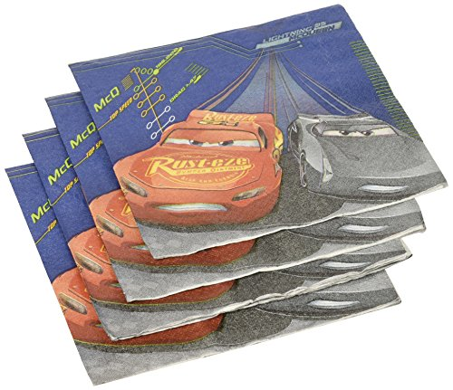 American Greetings Cars 3 Lunch Napkins (16 Count) (Mcqueen Racetrack Lightning)