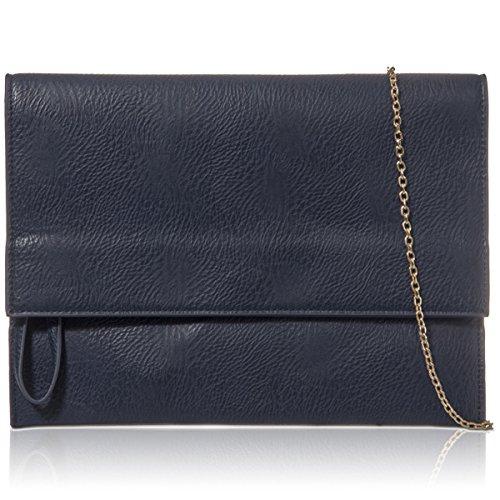 London Clutch New UK Leather Envelope Bag Women Navy Evening Xardi Ladies Flat Large Wristlet Faux gTdxqw