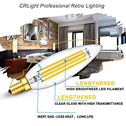 CRLight 8W 3000K Dimmable LED Candelabra Bulb Soft