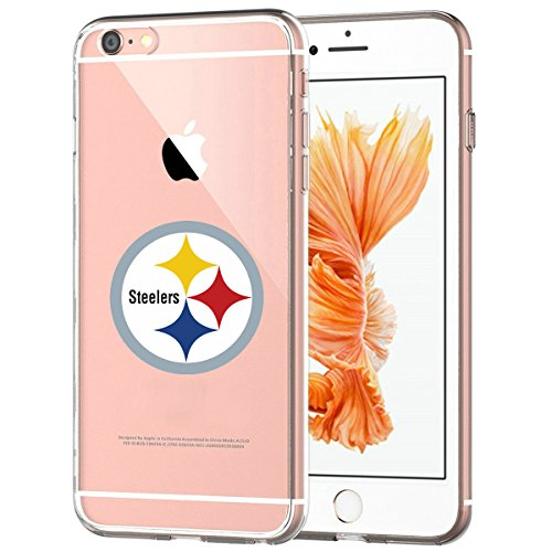 Steelers iPhone 6s Slim Fit Silicone Flexible Case, Transparent Protective Soft Back Cover with Slim Protection and Premium Clarity for iPhone 6 / 6s - Crystal Clear -