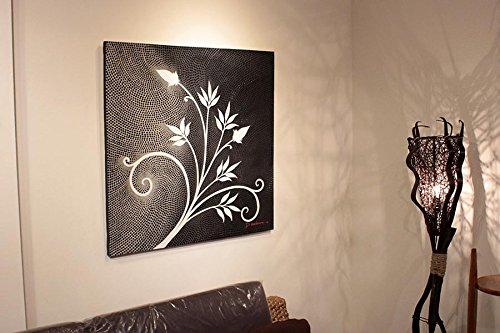 絵画 ドットアート 80x80cm モダンアート インテリア 壁掛け紐付き アジアン雑貨 バリ絵画 バリアート B01MS1MZOL