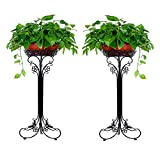 Pack of 2 Black Iron ArtFlowerPot Stands with 1 Pots Planter Holder,Indoor Outdoor Garden Patio Plant Bonsai Decorative Display Flower Rack (35cmL32cmW77cmH, Black)
