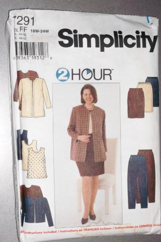Simplicity #7291Women's Pants Skirts, Shell, Unlined Jacket Size FF ()