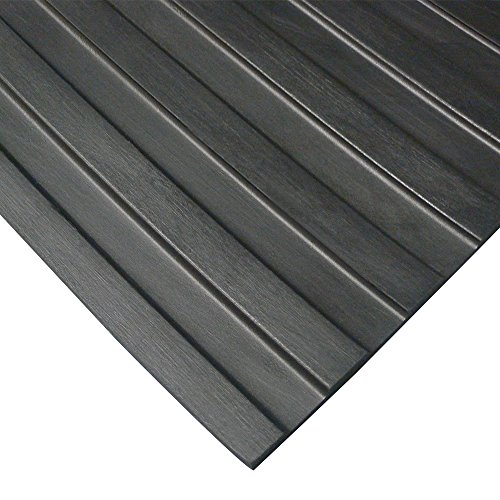 Wide Rib'' Rubber Flooring Mat - 1/8'' Thick x 4ft x 15ft - Black Runner Mats by Rubber-Cal