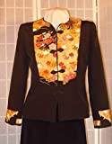 Silk jacket size small ''golden medallions'' black silk blazer from Japanese kimono silk special occasion #F61