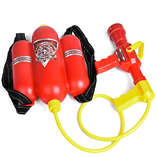 Fireman Toys Backpack Watergun Blaster Extinguisher with Nozzle and Tank Set Children Outdoor Water Toy, Beach Toy, Summer Toys, Bath Toy for Kids Gifts]()