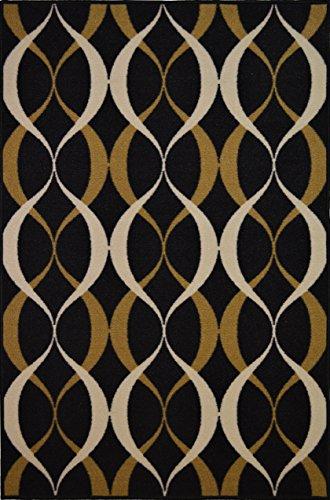 emporary Moroccan Mediterranean Trellis Lattice Design Rubber-Backed Non-Slip Non-Skid Area Rugs, Black and Gold, 5'0