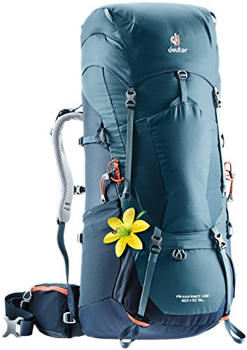 Deuter External Pockets - Deuter Aircontact Lite 60+10 SL Backpacking Pack, Arctic/Navy