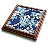 "3dRose trv_1063_1 Hibiscus Flower on Blue Trivet with Ceramic Tile, 8 by 8"", Brown"