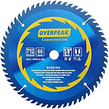 Overpeak 7 1 4inch Circular Saw Blade 60 Tooth Non Ferrous Metal Cutting Saw Blades With 5 8 Inch Arbor And Permashield Coating Amazon Com