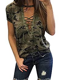 Women's Short Sleeves V Neck Camouflage Lace up Casual Shirts Sexy Tops