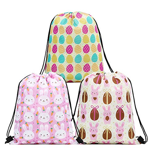 CIEOVO 3 Pack Easter Drawstring Gift Bags, Reusable Goodie Treat Gift Drawstring Bag Storage Tote Bag Printed Easter Egg and Rabbit Backpack for Easter Party Favors Candy Gift Bags