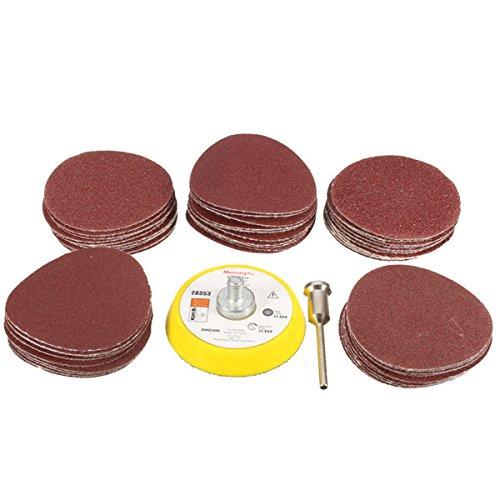 Kamas 2 Inch 50mm M6 Self-Adhesive Wool Polishing Disc with 50pcs 60 to 180 Grit Sand Paper