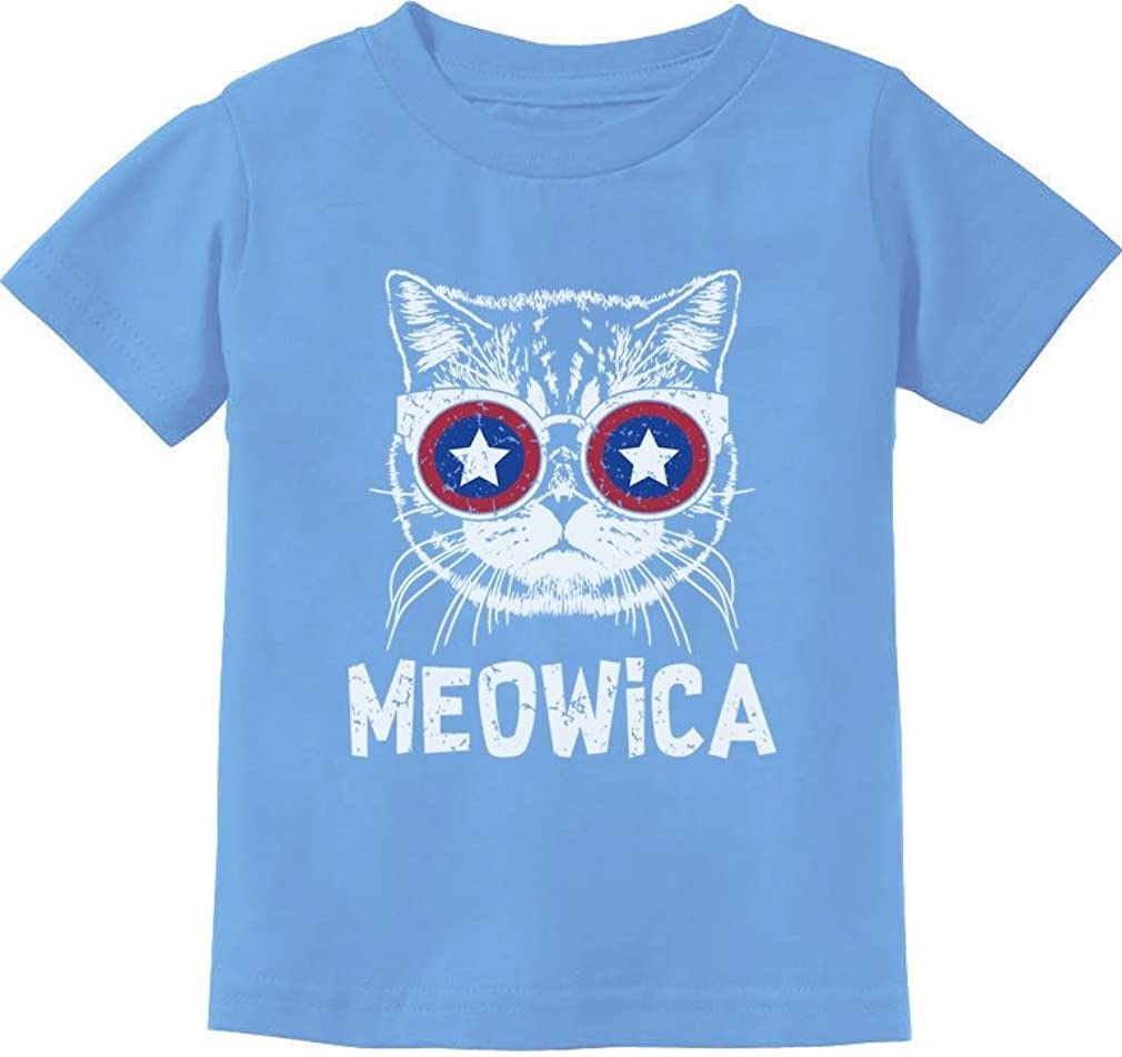 Meowica American Flag Patriotic Cat 4th of July Toddler Infant Kids T-Shirt