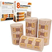 JFA Medical Elastic Compression Bandage Wrap – 8 Pack + 8 Extra Clips (4 x 7.5cm x 4.5m & 4 x 10cm x 4.5m Rolls) – Wrist…