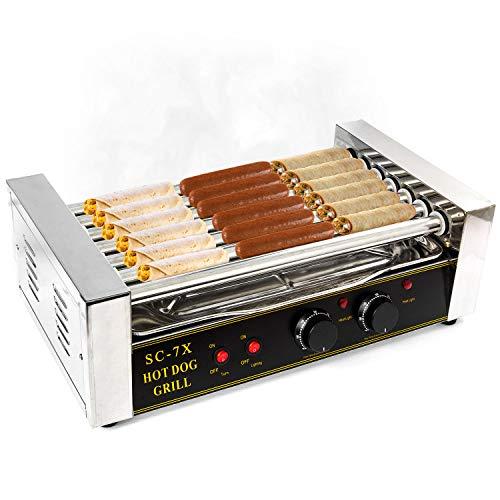 Hot Dog Grill Roller Commercial 18 Hotdog Maker Warmer Cooker Machine 7-Rollers