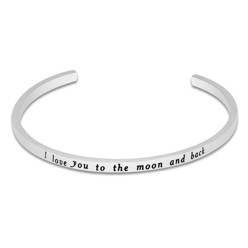 Lademayh I Love You to The Moon and Back Engraved Personalized Love Bracelet for Her, Adjustable Customized Stainless Steel Mantra Cuff Band