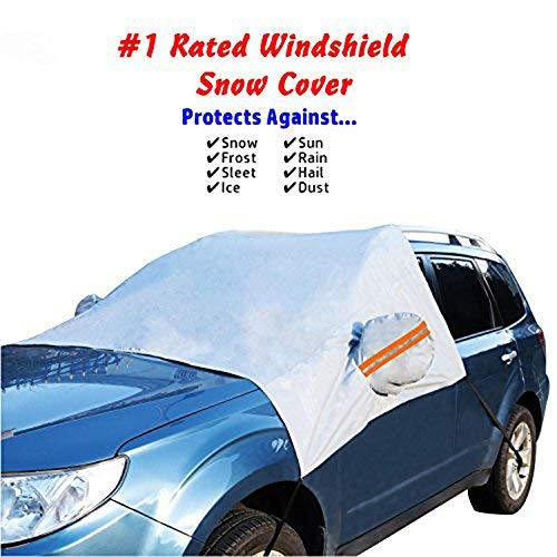 Premium Car Snow Cover, ixaer Car Windshield Snow Cover Sun Shade Protector with Rearview Mirror Protector and Anti-Theft Edges Windshield Snow & Ice Cover For ALL Cars, Trucks, SUVs, & Vans