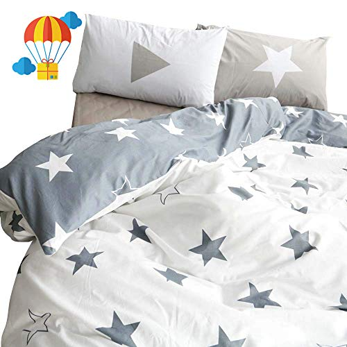 BuLuTu Five-Pointed Stars Queen Duvet Cover Set Kids Grey White Cotton Reversible Single Teen Boys Girls Bed Bedding Cover with 2 Pillowcases,Hotel Quality Queen Duvet Cover For Men Women,No Comforter