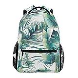 JSTEL Summer Palm Tree And Banana Leaves School Backpacks For Girls Kids Elementary School Shoulder Bag Bookbag