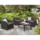 Allibert Montpellier Brown Rattan Outdoor Garden Furniture Set with Cushions