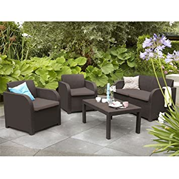 Allibert Montpellier Brown Rattan Outdoor Garden Furniture Set with Cushions. Allibert Montpellier Brown Rattan Outdoor Garden Furniture Set