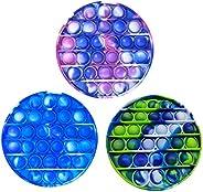 3PCS Silicone Tie-dye Push pop Bubble Fidget Toy, Autism Special Needs Stress Reliever, Squeeze Sensory Tools
