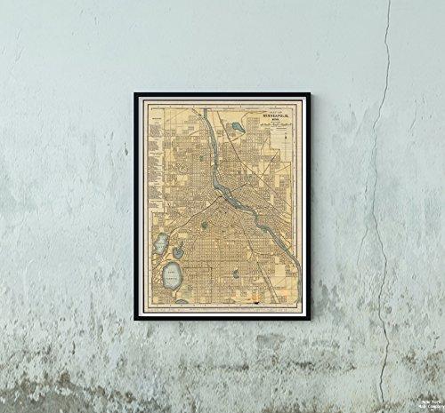 1895 Map Minnesota|Hennepin|Minneapolis of Minneapolis, Minn Map|of Minneapolis, Minnesota Matt|Historic Antique Vintage Reprint|Ready to Frame