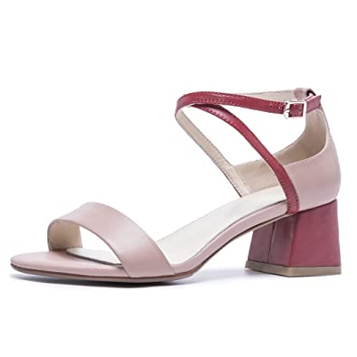 cde135c9c4d0e7 GAOLIXIA Womens Ladies Open Toe Leather Sandals Summer Cross Ankle Strap  High Heels Art Party Banquet