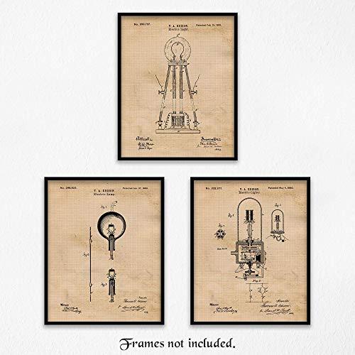Original Thomas Edison Lightbulb Patent Art Poster Prints- Set of 3 (Three 8x10) Unframed Photos- Great Wall Art Decor Gifts Under $15 for Home, Office, Garage, Man Cave, Shop, Student, Scientist, Fan